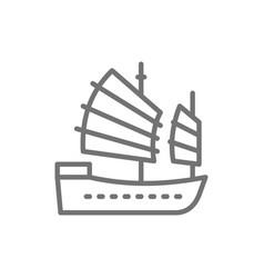 Asian junk boat hong kong ship line icon vector