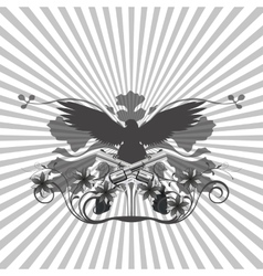 background pattern and an eagle with guns vector image
