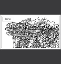 beirut lebanon city map in black and white color vector image