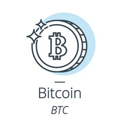 Bitcoin cryptocurrency coin line icon of virtual vector