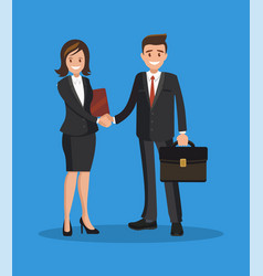 business man and woman shake hands a successful vector image