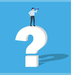 businessman standing on question mark and looks vector image