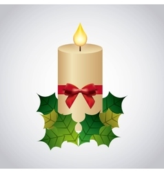 Candle leaves bowtie icon Merry Christmas design vector