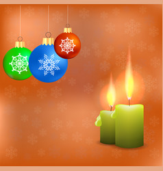 Candles and colorful glass balls vector