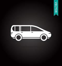 Car Icon White on Black vector image
