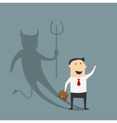 Cartoon businessman with true devil personality vector