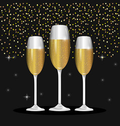 Champagne glass to celebrate new year vector