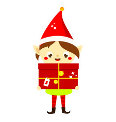 Christmas elf cute santa s helper holding big vector