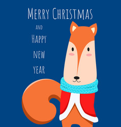 christmas greeting card and cute fox character vector image