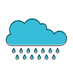 Cloud with rain in watercolor silhouette vector