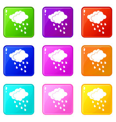 Clouds and water drops icons 9 set vector
