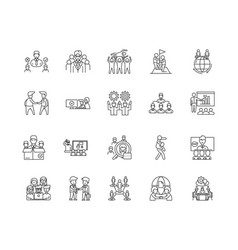 collaboration line icons signs set vector image