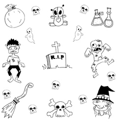 Collection Halloween doodle art vector