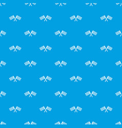 crossed chequered flags pattern seamless blue vector image