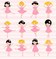 Cute ballerinas set vector