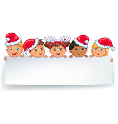 cute kids in caps santa claus holding white blank vector image