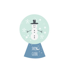 cute snowman snow globe isolated on white vector image