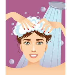 Cute young woman washing her hair eps10 vector image