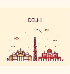Delhi skyline india linear style city vector