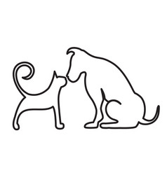 Dog and cat line art vector