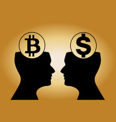 dollar and bitcoin signs inside of human heads vector image