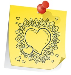 doodle sticky note heart vector image