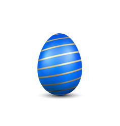 Easter egg 3d icon gold blue egg isolated white vector