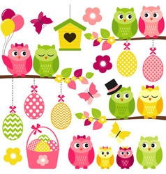 Easter Owls vector image