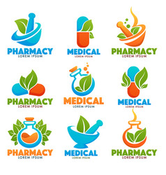 Eco pharma glossy shine logo template with images vector