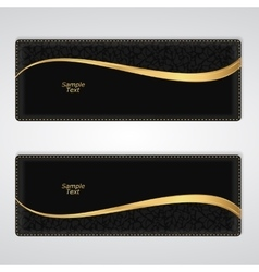 Elegant black leather horizontal banner with a vector