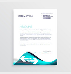 elegant blue and gray waves letterhead design vector image