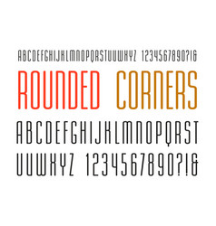 Extra narrow sanserif font with rounded corners vector