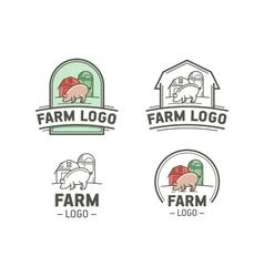 Farm logo set vector