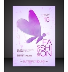 Fashion show flyer with purple butterfly vector