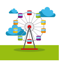 ferris wheel carnival fun fair festival circus vector image