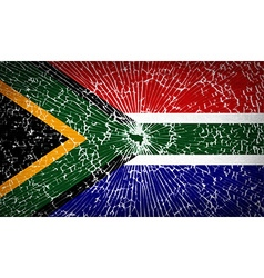 Flags South Africa with broken glass texture vector