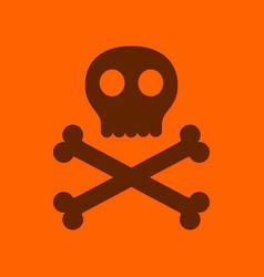 flat icon stylish background halloween skull bones vector image