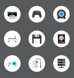Flat icons router diskette controller and other vector