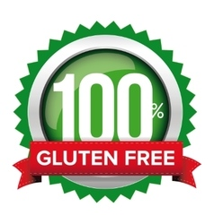 Gluten free badge with red ribbon vector image