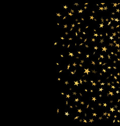 Gold stars falling confetti isolated on black vector