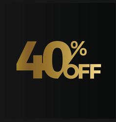 golden 40 percent off flat cartoon style vector image