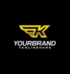 golden wing shield luxury initial letter k logo vector image