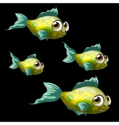 Green-yellow tropical fish four cartoon vector