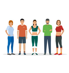 group of people in sportswear for sports vector image vector image