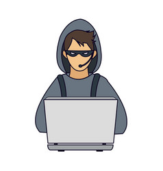 Hacker with laptop vector