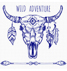 Hand drawn buffalo skull with feathers and arrows vector