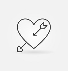 heart with cupid arrow outline icon or logo vector image