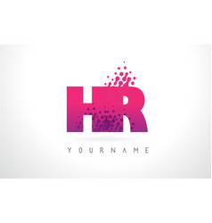 Hr h r letter logo with pink purple color and vector