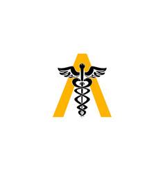 initial letter a caduceus medical logo sign design vector image