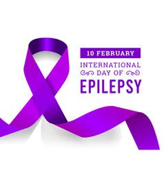 international epilepsy day with purple ribbon vector image